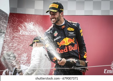 Spielberg, Austria. 9 July 2017. F1 Grand Prix of Austria. Daniel Ricciardo, Red Bull, celebrating on the podium.