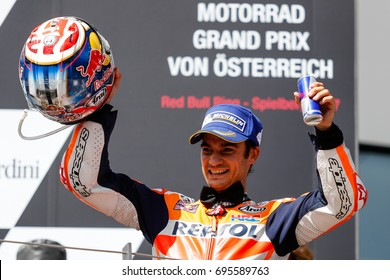 Spielberg, Austria - August 13, 2017. 26 Dani PEDROSA celebrates 3rd place during MotoGP World Championship race at Red Bull Ring in Austria.