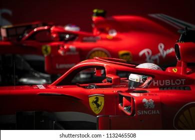 Spielberg, Austria - July 1, 2018: Scuderia Ferrari's German driver Sebastian Vettel  sits in his car after the Austrian Formula 1 Grand Prix.