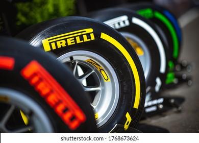 Spielberg, Austria - June 27-30, 2019: Pirelli tyres, pneus.
