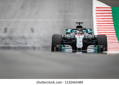 Spielberg, Austria - June 29, 2018: Mercedes AMG Petronas F1 Team's British driver Lewis Hamilton competes during first practice session of Austrian Formula 1 Grand Prix at the Red Bull Ring.