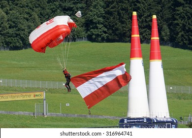 Spielberg, Austria- September 6, 2015: Sky diving performance at Red Bull Air Race World Championship in Red Bull Ring, Austria on September 6, 2015.
