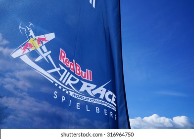 Spielberg, Austria- September 6, 2015: The logo of Red Bull Air Race Spielberg in Red Bull Ring, Austria on September 6, 2015.