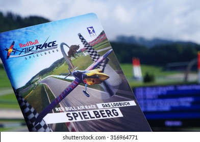 Spielberg, Austria- September 6, 2015: Leaflet of Red Bull Air Race World Championship in Red Bull Ring, Austria on September 6, 2015.