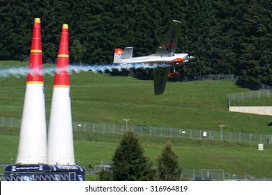 Spielberg, Austria- September 6, 2015: Race plane of Yoshihide Muroya at Red Bull Air Race World Championship in Red Bull Ring, Austria on September 6, 2015.