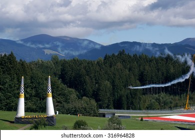 Spielberg, Austria- September 6, 2015: Race plane which is approaching to start gate at Red Bull Air Race World Championship in Red Bull Ring, Austria on September 6, 2015.