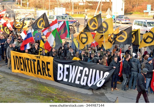 Spielfeld, Austria - November 28, 2015: International blockade by 1000 activists of the Austrian identitarian movement of the border crossing near Spielfeld.