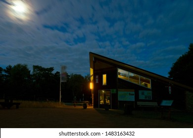 Spier, the Netherlands - August 19, 2019: Staatsbosbeheer information center in moonlight, the Netherlands