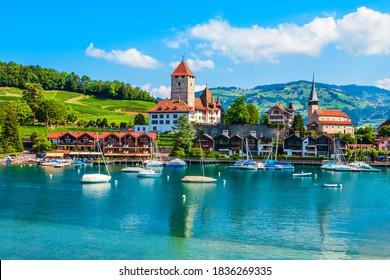 Spiez Castle or Schloss Spiez and Schlosskirche Church near Thun lake in Spiez town of Bern canton in Switzerland
