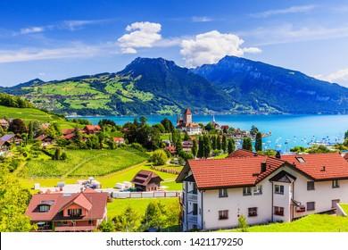 Spiez, Switzerland. The town of Spiez by Thun lake in the Berner Oberland.