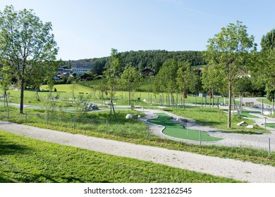 Spiez/Switzerland - August 25 2015: Park in the picturesque village of Spiez is a town and municipality on the shore of Lake Thun in the Bernese Oberland region of the Swiss canton of Bern.