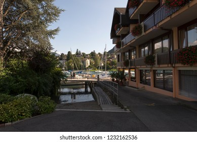 Spiez/Switzerland - August 25 2015: Picturesque village of Spiez is a town and municipality on the shore of Lake Thun in the Bernese Oberland region of the Swiss canton of Bern.