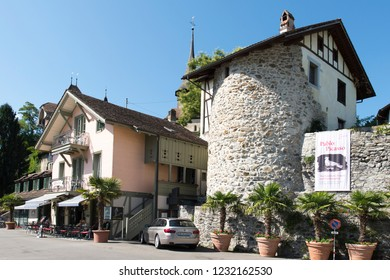 Spiez/Switzerland - August 25 2015: Restaurant in the picturesque village of Spiez is a town and municipality on the shore of Lake Thun in the Bernese Oberland region of the Swiss canton of Bern.