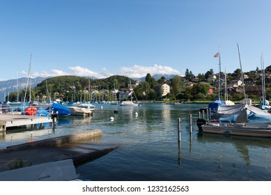 Spiez/Switzerland - August 25 2015: Seegarten Marina in Spiez. Spiez is a town and municipality on the shore of Lake Thun in the Bernese Oberland region of the Swiss canton of Bern.