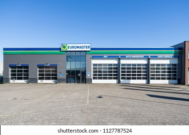 SPIJKENISSE, THE NETHERLANDS - June 25, 2018: Euromaster garage. Euromaster offers tire services and vehicle maintenance across Europe and is a subsidiary of the tire maker Michelin.