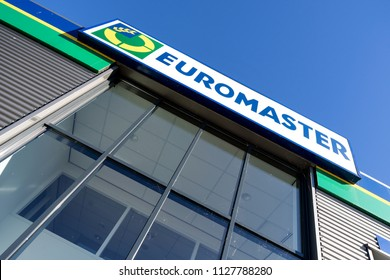 SPIJKENISSE, THE NETHERLANDS - June 25, 2018: Euromaster sign at garage. Euromaster offers tire services and vehicle maintenance across Europe and is a subsidiary of the tire maker Michelin.