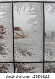 Spikey ice frozen to stuff