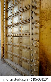 Spiky brass door at City Palace of Jaipur, India
