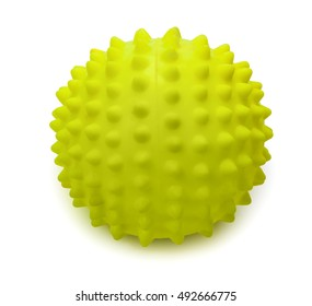 Spiky rubber massage ball isolated on the white background, close-up.