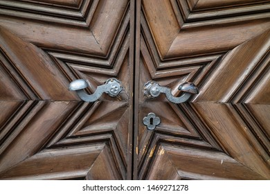 Spilberk Castle, Brno, South Moravia, Czech Republic - June 24, 2013: Exterior doors and gates in the castle's main building, and their accessories, handles, knobs, hinges, chains, keyholes