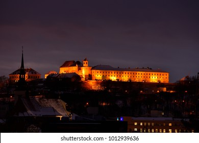 Spilberk Castle in winter time. Brno, South Moravia, Czech Republic. Night photo of beautiful old architecture.