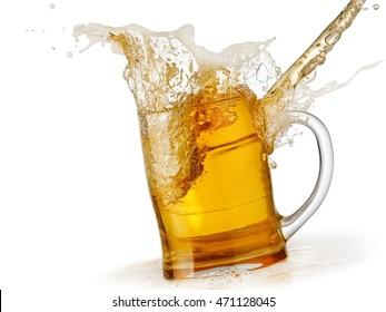 Spill from a beer mug