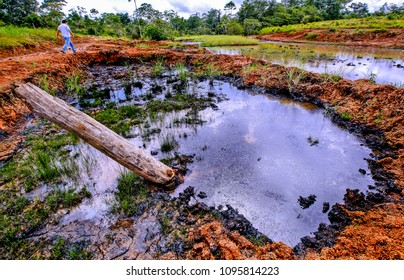 Spill of crude oil in the field and water sources in Antioquia, Colombia. These oil spills pollute the environment, kill animals and end with the births of drinking water.