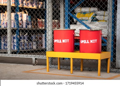 Spill kit containment boxes are prepared and placed in front of the chemical storage room. Using in emergency case of chemical spill or leak on ground.