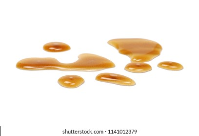 Spilled beer puddle isolated on white background and texture, clipping path