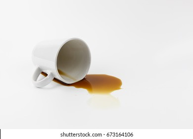 Spilled coffee from glass On a white background