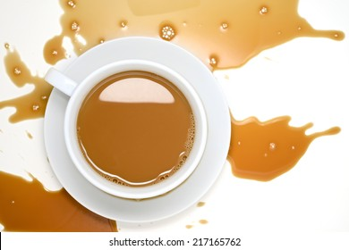 Spilled Coffee on White Desk
