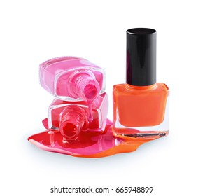 Spilled colored nail polish as sample of cosmetics product isolated on white background