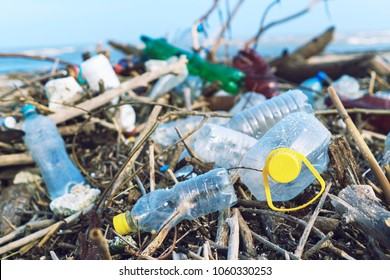 Spilled garbage on the beach of the big city. Empty used dirty plastic bottles. Dirty sea sandy shore of the Black Sea. Environmental pollution. Ecological problem