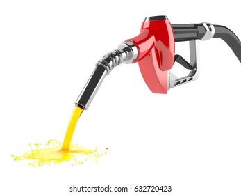 Spilled gasoline isolated on white background. 3d illustration