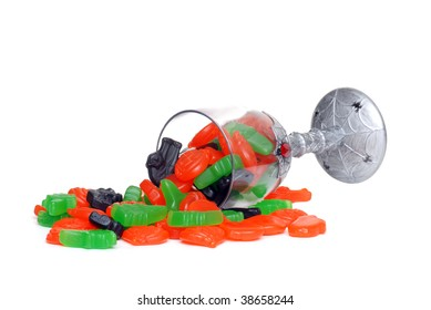 spilled glass of Halloween candy