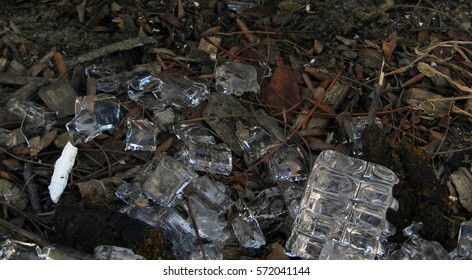 spilled ice in dirt