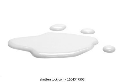 Spilled milk puddle isolated on white background and texture