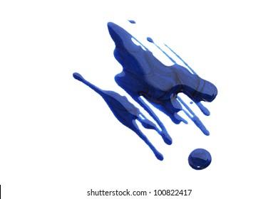 Spilled nail polish isolated on white background.