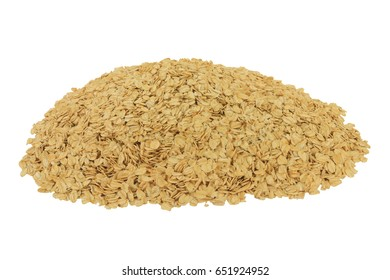 Spilled on pile LARGE FLAKE OATS, ROLLED OATS FLATTENED BETWEEN ROLLERS to produce oatmeal on Large Flakes thick enough to hold shape during cooking isolated on white background