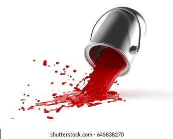 Spilled paint isolated on white background. 3d illustration
