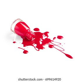 Spilled red nail polish isolated on white background