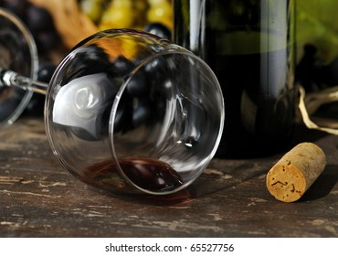Spilled red wine.