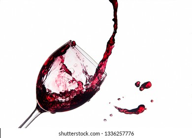 Spilled wine glass splashing out