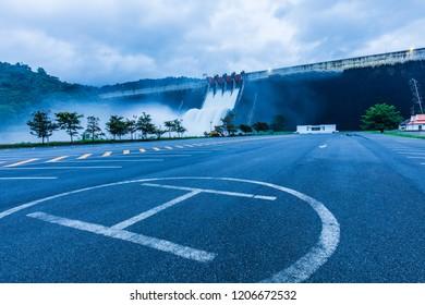 Spillway for drainage from the dam to prevent flooding. Khun Dan Prakarnchon  Dam, Thailand.