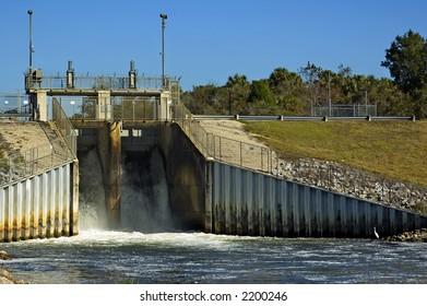 The spillway at Inglis Lock dam near Inglis, Florida.