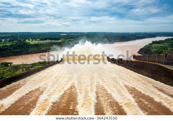 Spillway at Itaipu Dam, on the border of Brazil and Paraguay.