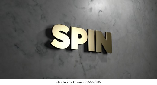 Spin - Gold sign mounted on glossy marble wall  - 3D rendered royalty free stock illustration. This image can be used for an online website banner ad or a print postcard.