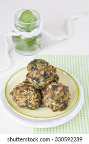 spinach balls with rice, vegetarian food