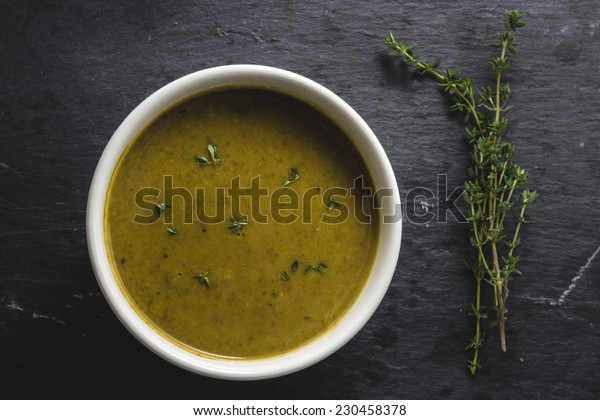 Spinach and bok choy soup with thyme