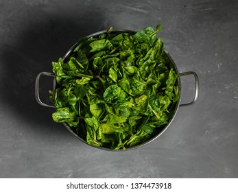 spinach in a bowl top view